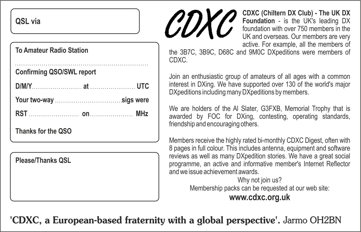 CDXC - The UK DX Foundation - QSL Cards